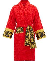 Versace Peignoir en coton à jacquard logo I Love Baroque - Rouge