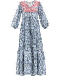 Muzungu Sisters Frangipani Hand-embroidered Linen Maxi Dress - Blue