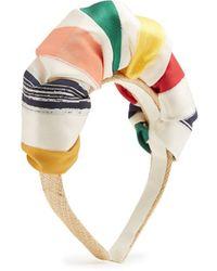 Benoit Missolin | Anais Striped Satin And Raffia-straw Headband | Lyst