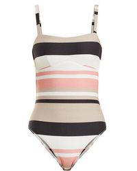 Beautiful Bottoms - Square-neck Striped Swimsuit - Lyst