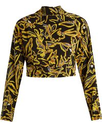 Diane von Furstenberg - High-neck Silk Crepe De Chine Cropped Top - Lyst
