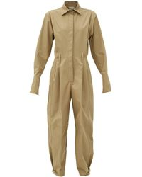 Givenchy Fluted-cuff Knife-pleated Cotton-poplin Jumpsuit - Multicolor