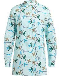 Thorsun Georgie Hummingbird-print Cotton-poplin Shirt - Blue