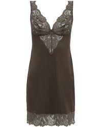 Hanro Lynn Lace-trimmed Jersey Slip Dress - Gray