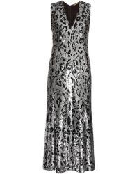 Roberto Cavalli - Leopard-print Sequin-embellished Midi Gown - Lyst