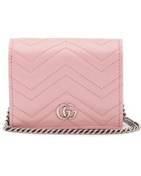 Gucci - GG Marmont Chain Quilted-leather Wallet - Lyst