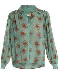 MASSCOB - Gathered Floral-print Silk Blouse - Lyst