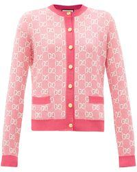 Gucci - Cardigan en laine mélangée à jacquard GG - Lyst