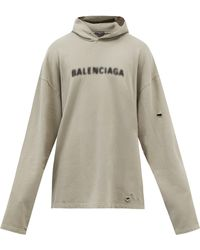 Balenciaga ブラー コットンスウェットパーカー - グレー