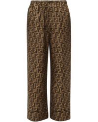 Fendi Ff Print Silk Satin Pyjama Trousers - Multicolour