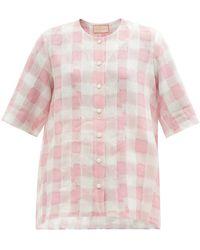 Marta Ferri Round-neck Checked Linen Shirt - Pink