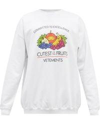 Vetements Cutest Of The Fruit コットンブレンドスウェットシャツ - ホワイト