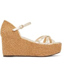 Jimmy Choo - Delany 80 Leather Espadrille Wedge Sandals - Lyst