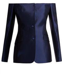 Gabriela Hearst Dorothea Off The Shoulder Silk Blend Blazer - Blue