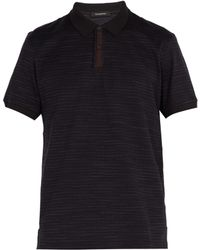 Ermenegildo Zegna - Suede Placket Cotton Polo Shirt - Lyst
