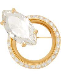 Miu Miu Crystal Embellished Brooch - Metallic