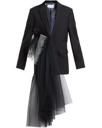 Germanier Crystal-embellished Tulle-draped Blazer - Black