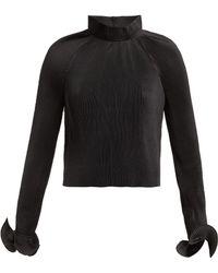 Tibi Haut raccourci plissé à col montant - Noir
