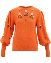 Gucci フローラルエンブロイダリー ウールコットンセーター - オレンジ
