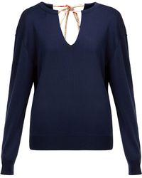 Chloé - Split Neck Silk Blend Sweater - Lyst