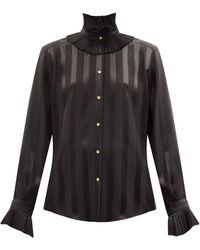 Dolce & Gabbana ストライプシルクサテンブラウス - ブラック