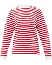 Bella Freud ロゴ ボーダー オーガニックコットンtシャツ - レッド