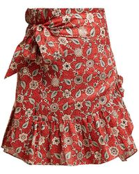 Étoile Isabel Marant Tempster Floral Print Cotton Wrap Skirt - Red