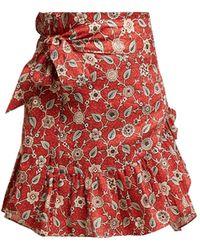 Étoile Isabel Marant Tempster Floral-print Cotton Wrap Skirt - Red