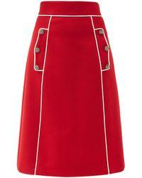 Dolce & Gabbana Aライン ウールブレンドツイル スカート - レッド