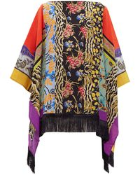 Etro Patchwork-print Fringed-hem Silk Poncho - Multicolour