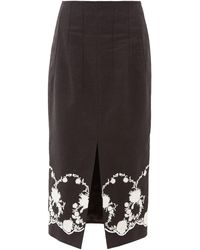Brock Collection Floral-embroidered Twill Midi Skirt - Black