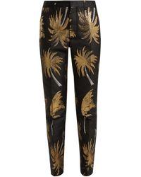 MSGM Pantalon en jacquard de satin métallisé Palm Tree - Multicolore