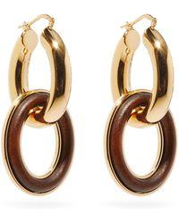 Jil Sander - Eclipse Wood-insert Double-hoop Earrings - Lyst