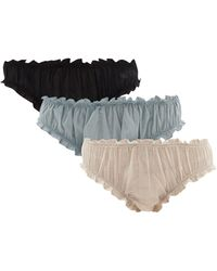 Loup Charmant Pack Of Three Frilled Cotton Bloomer Briefs - Multicolour