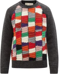 Marni Crochet Patchwork Wool-blend Jumper - Red