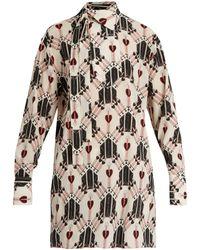 Valentino Love Blade-print Silk Blouse - Multicolour