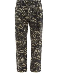 Desmond & Dempsey Pardalis Reptile-print Cotton Pyjama Trousers - Black