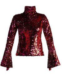 Halpern - Sequin-embellished High-neck Top - Lyst