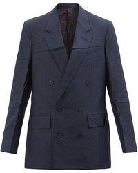 Balenciaga テクスチャードツイル ダブルジャケット - ブルー