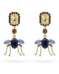 Erdem Ladybird Crystal Drop Earrings - Blue