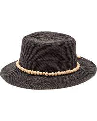 Sensi Studio - Chapeau en paille tressée ornements perles Hippie - Lyst