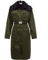 Prada Faux-fur Trim Single-breasted Nylon Coat - Green