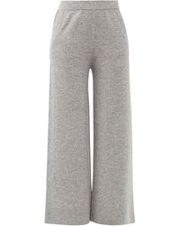 Allude Wool-blend Wide-leg Track Trousers - Grey