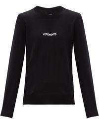 Vetements ロゴ ウールセーター - ブラック