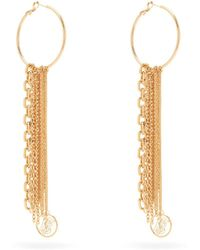 Burberry - Tb Monogram And Chain Drop Earrings - Lyst