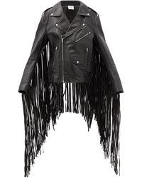Vetements Fringed Leather Biker Jacket - Black