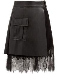 Self-Portrait フェイクレザー&シフォン ラップスカート - ブラック