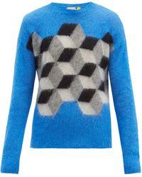 7 MONCLER FRAGMENT タイルインターシャ モヘアブレンドセーター - ブルー
