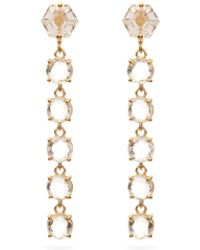 Suzanne Kalan Topaz & 14kt Gold Drop Earrings - Metallic