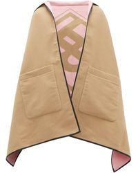 Burberry Poncho à capuche en laine mélangée à jacquard logo - Neutre